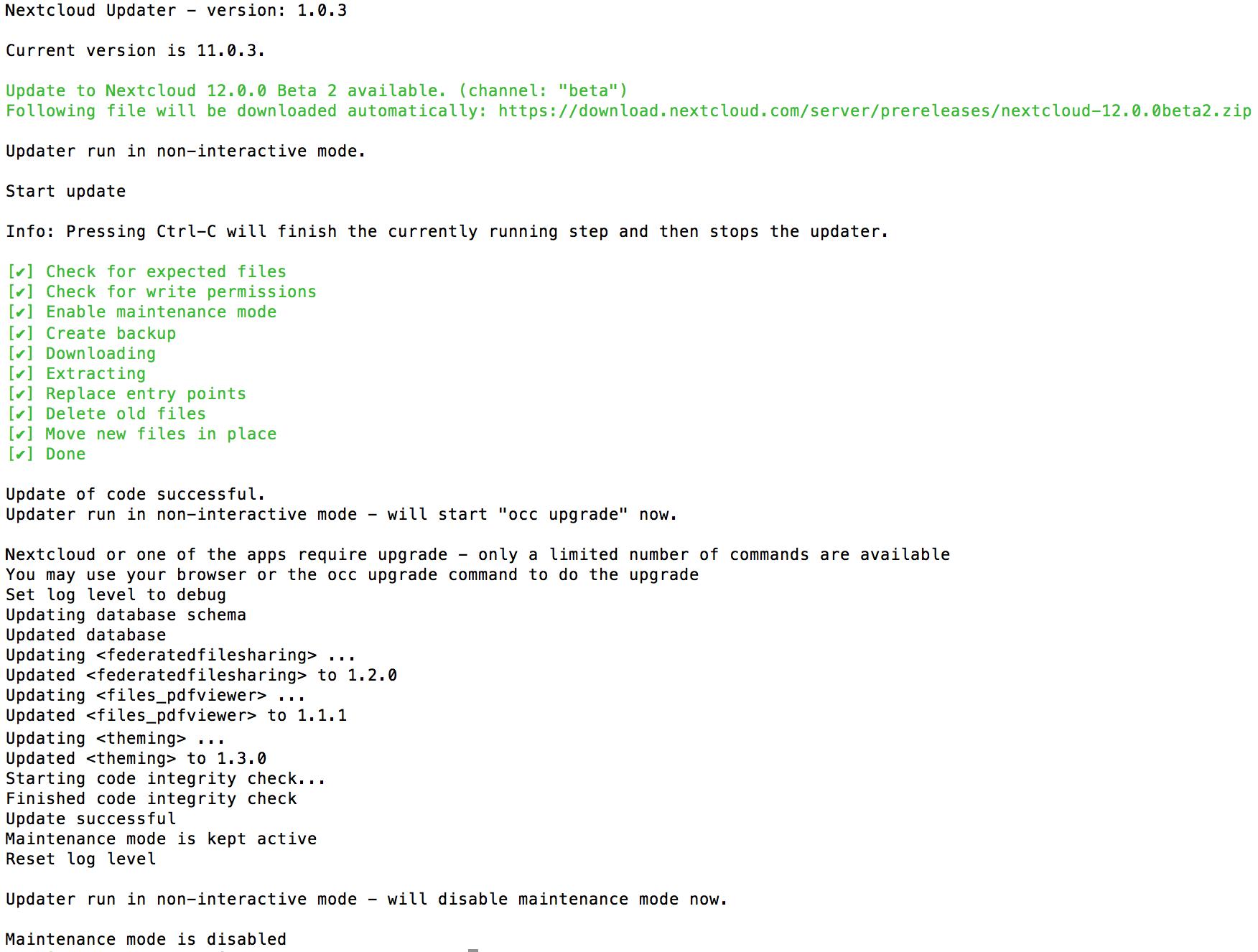 Upgrade via built-in updater — Nextcloud 14 Administration