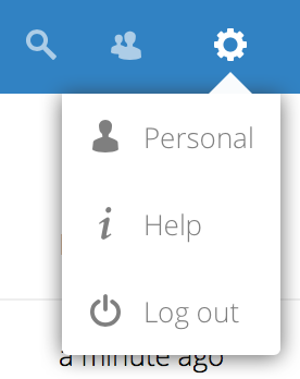 screenshot of user menu at top-right of Nextcloud Web GUI
