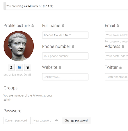 screenshot of user's Personal settings page
